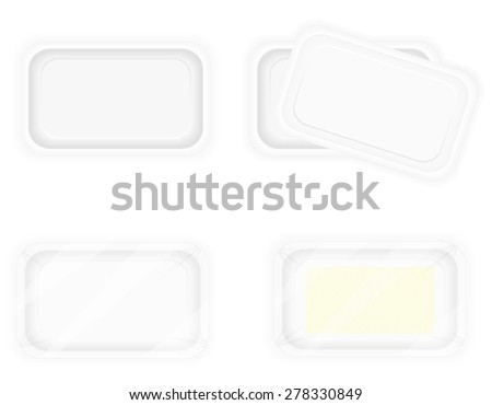 white plastic container packaging for food vector illustration isolated on background