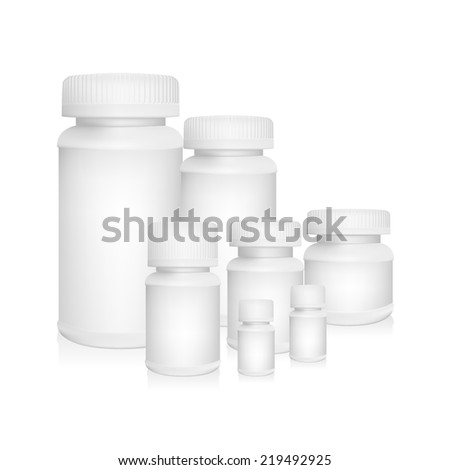 White plastic medical container bottle on white background - stock vector