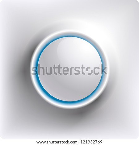White plastic round vector button with blue light inside - stock vector