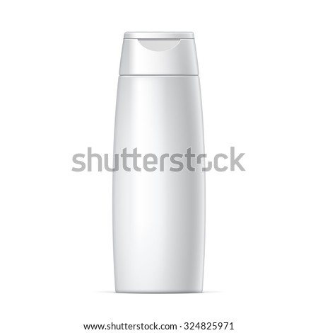 White plastic Shampoo Bottle With Flip-Top Lid. MockUp Template For Your Design. Vector illustration. - stock vector