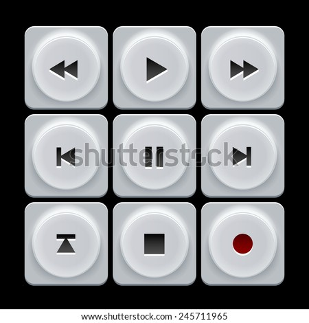 White plastic vector player navigation buttons set - stock vector