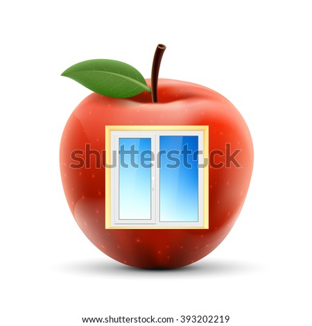White plastic window in a red apple. Isolated on white background. Stock vector illustration. - stock vector