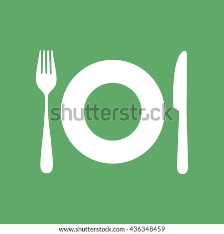 White plate fork knife vector icon illustration - stock vector