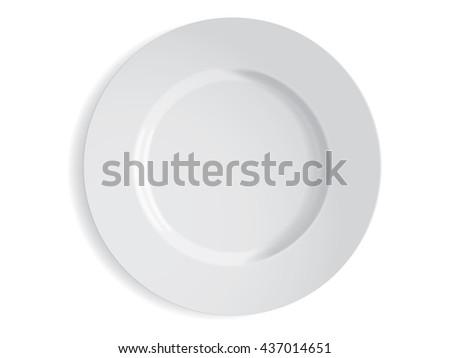 white plate mockup - stock vector