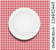 white plate on a checkered tablecloth vector illustration - stock vector