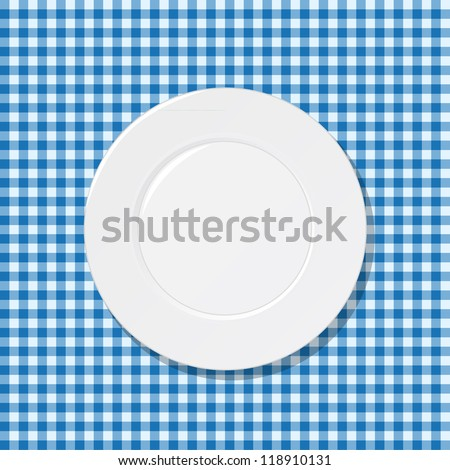 White plate on blue tablecloth - stock vector