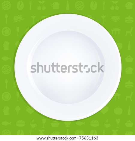 White Plate On Green Background, Vector Illustration - stock vector
