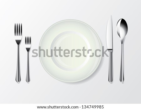 white plate, spoon, fork and knife photo-realistic vector