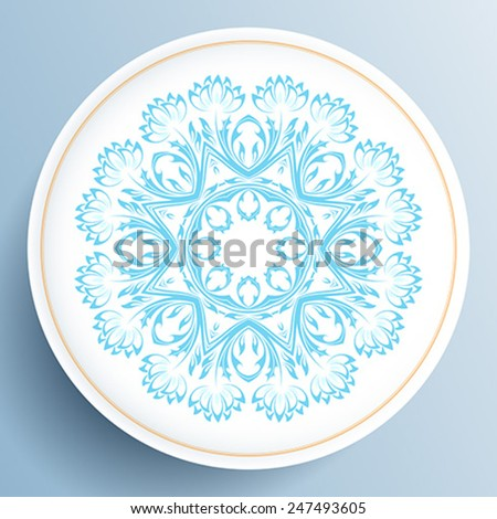 White plate with blue floral ornament on light blue background - stock vector