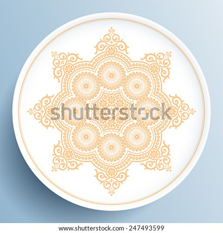 White plate with gold floral ornament on light blue background - stock vector