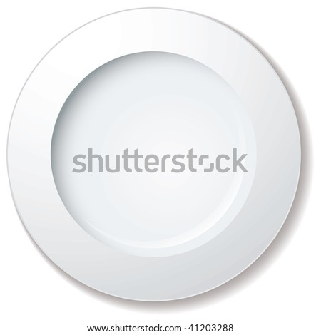 white plate with large rim and drop shadow