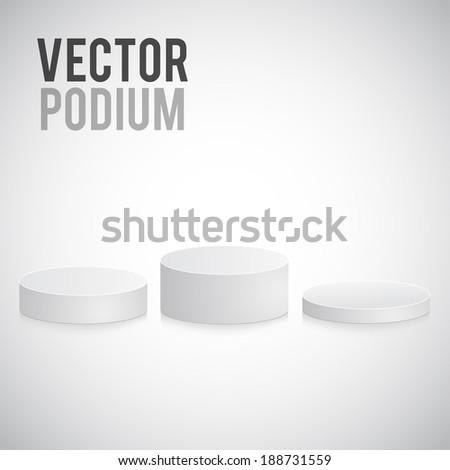 white podium - stock vector