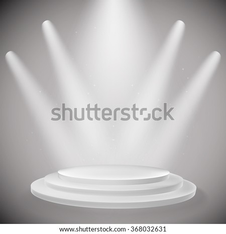 white podium and spot lights background. vector design template