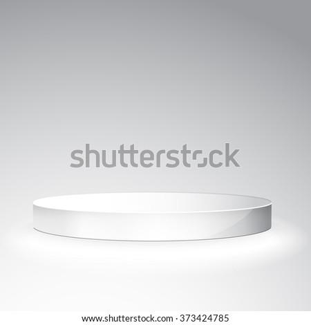 White podium on grey background. Vector White Podium Tribune Stand Isolated on White Background - stock vector