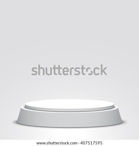 White podium. Pedestal. Scene. 3D. Vector illustration. - stock vector