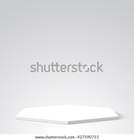 White podium. Pedestal. Scene. White box. Package. Polyhedron. 3D. Vector illustration.