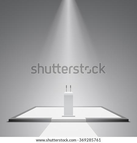 White podium. Pedestal. Stand. Tribune. Scene. Spotlight. 3D. Light effect. Vector illustration. - stock vector