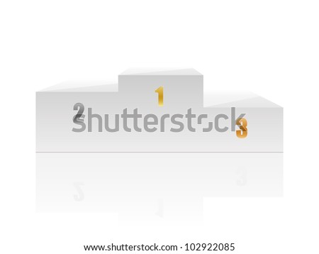 White podium with numbers. Vector illustration. - stock vector