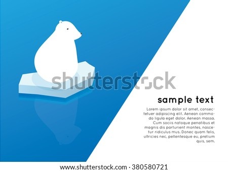 white polar bear on iceberg ocean layout background illustration vector - stock vector