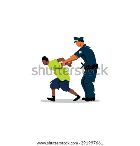 White police arrested a black man. Justice in action. Vector Illustration. Branding Identity Corporate logo design template Isolated on a white background - stock vector