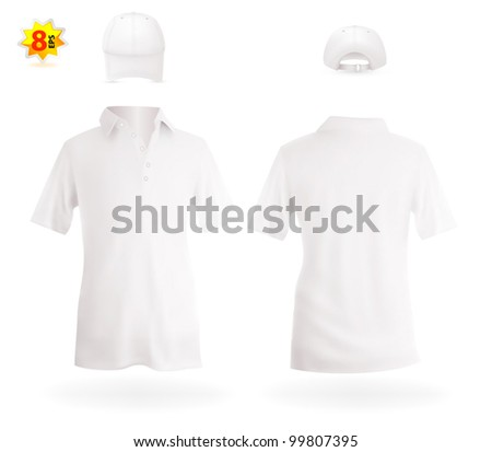 White polo shirt and a baseball hat. - stock vector