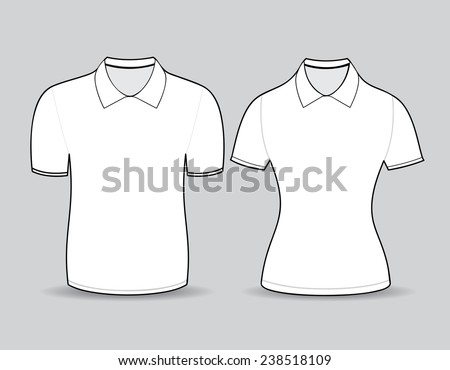 White polo shirt outline on gray background