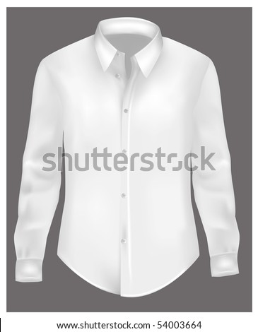 White polo shirt with long sleeves. Photo-realistic vector.