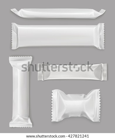 White polyethylene package, chocolate bar, vector mockup set - stock vector