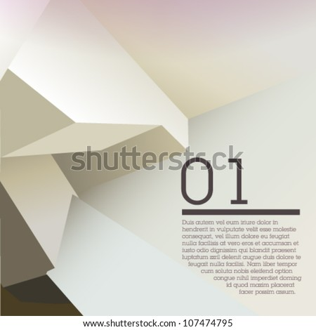 White polygonal design / abstract form suitable for infographics, book cover or web banner - stock vector