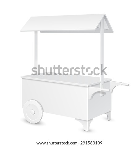 White POS POI Blank Mobile Transportable Retail Stand Stall Bar Display With Roof, Canopy On Wheels. On White Background Isolated. Mock Up Template Ready For Your Design. Product Packing Vector EPS10 - stock vector