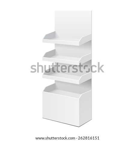 White POS POI Cardboard Blank Empty Displays With Shelves Products. On White Background Isolated. Mock Up Template Ready For Your Design. Product Packing Vector EPS10 - stock vector
