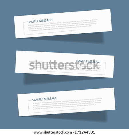 white post it for text and message design on blue background and shadow , vector origami - stock vector