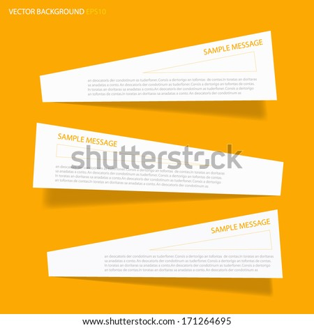 white post it for text and message design on yellow background and shadow , vector origami - stock vector