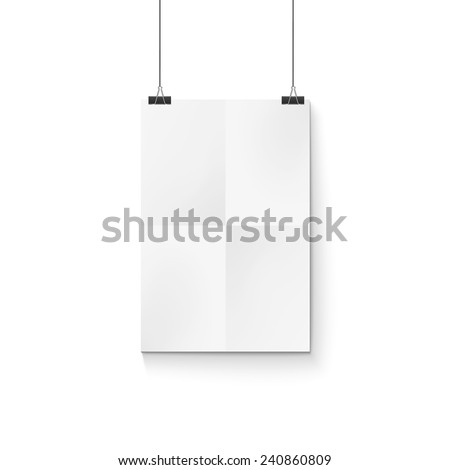 white poster on a rope, excellent vector illustration, EPS - stock vector