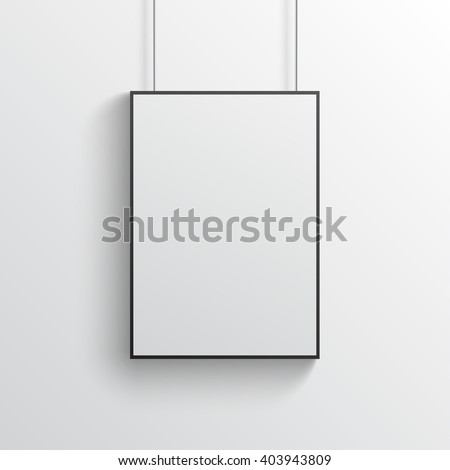 White poster with black frame mockup on grey wall - stock vector