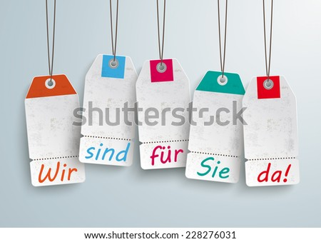 """White price stickers on the white background. German text """"Wir sind f���¼r Sie da"""", translate """"We`re open"""". Eps 10 vector file. - stock vector"""