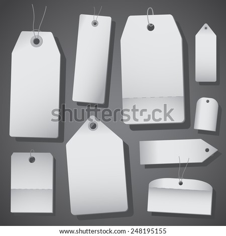 White price tags isolated - stock vector