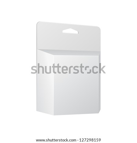 White Printer Ink Cartridge Product Package Box With Hang Slot. Blank On White Background Isolated. Ready For Your Design. Product Packing Vector EPS10