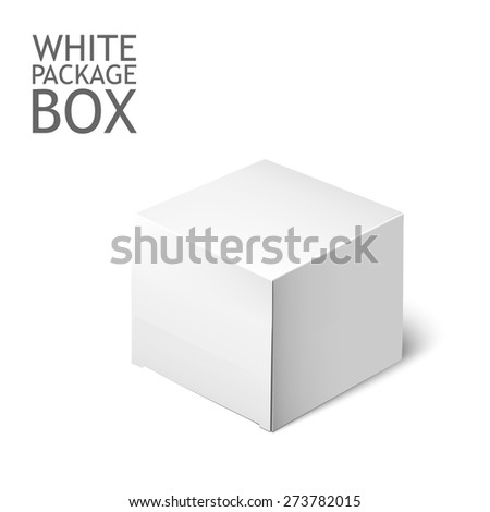 White Product Cardboard Package Box For Software, DVD, Electronic Device And Other Products. Mockup Template Ready For Your Design. - stock vector