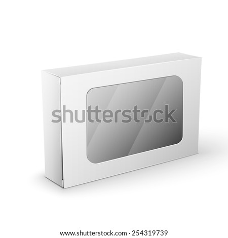 White Product Cardboard rectangular Package Box. Illustration Isolated On White Background. Mock Up Template Ready For Your Design. Vector EPS10 - stock vector