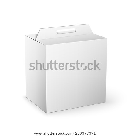 White Product Cardboard square Package Box. Illustration Isolated On White Background. Mock Up Template Ready For Your Design. Vector EPS10 - stock vector