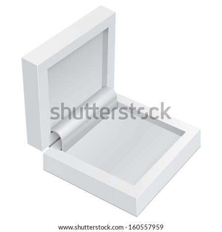 White Product Gift Jewelry Plastic Cardboard, Carton Package Box Open On White Background Isolated. Ready For Your Design. Product Packing Vector EPS10