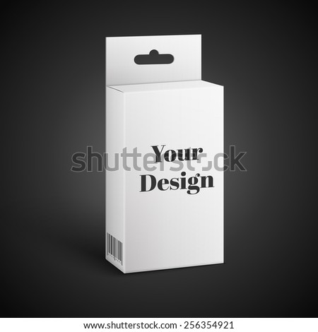 White Product Package Box. Paper Bag . Illustration Isolated On Black Background. Ready For Your Design. Product Packing Vector - stock vector