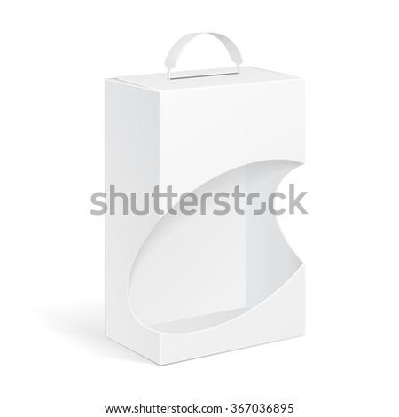 White Product Package Box With Window And Handle Illustration Isolated On White Background. Mock Up Template Ready For Your Design. Product Packing Vector EPS10  - stock vector