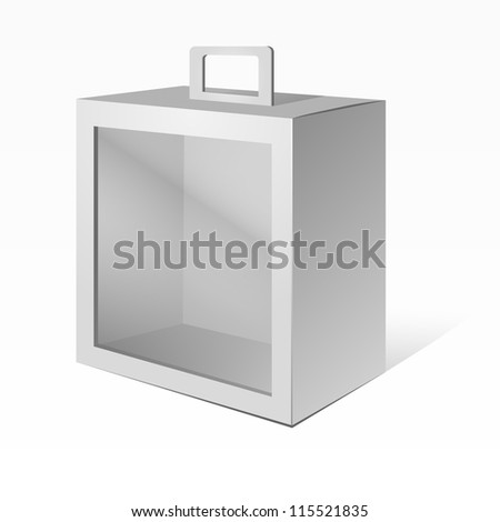 White Product Package Box With Window and handle. Ready For Your Design. Vector EPS10 - stock vector