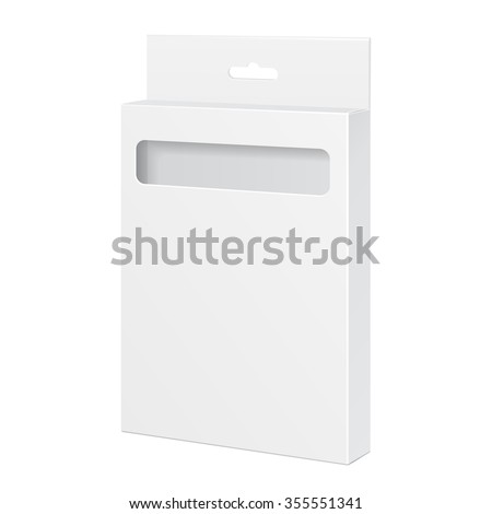 White Product Package Box With Window. For Pencils, Pens, Felt-tip Pens Illustration Isolated On White Background. Mock Up Template Ready For Your Design. Product Packing Vector EPS10 - stock vector