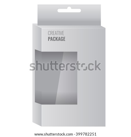 White Product Package Box With Window. Illustration Isolated On White Background. Ready For Your Design. Vector display mock up - stock vector