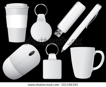 White Promo Items EPS 8 vector, grouped for easy editing. No open shapes or paths.
