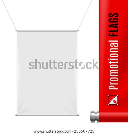 White promotional flag hanging on threads on a gray background - stock vector