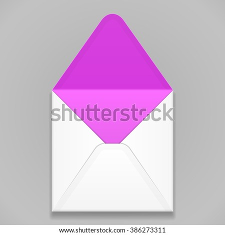 White Purple, Violet, Magenta Blank Envelope. Illustration Isolated On Gray Background. Mock Up Template Ready For Your Design. Vector EPS10 - stock vector